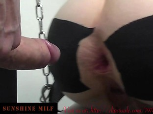 Big Gaping Ass Assfucked at the Swing with Pussy clamps 2