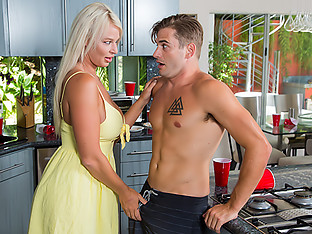 London River sneaks a quickie with her son\'s friend while the pool party rages on out back