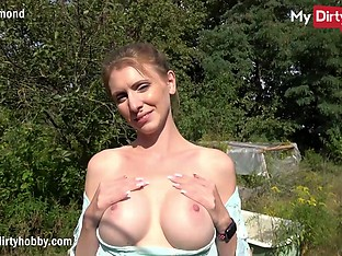 MyDirtyHobby - Busty amateur swallows a big cock outdoors