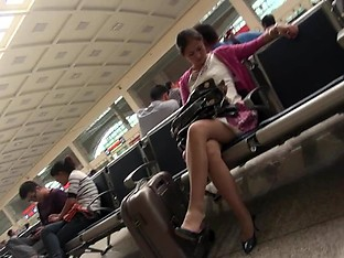 hot chinese milf's  leg with pantyhose